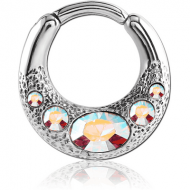 SURGICAL STEEL JEWELLED HINGED SEPTUM CLICKER PIERCING