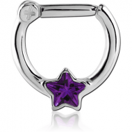 SURGICAL STEEL STAR JEWELLED HINGED SEPTUM CLICKER PIERCING