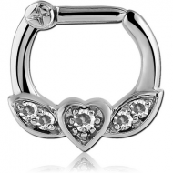 SURGICAL STEEL WINGED HEART PRONG SET JEWELLED HINGED SEPTUM CLICKER PIERCING