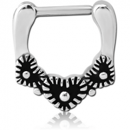 SURGICAL STEEL HINGED SEPTUM CLICKER - HEART