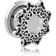 STAINLESS STEEL THREADED TUNNEL WITH SURGICAL STEEL TOP - STAR FILIGREE