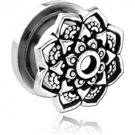 STAINLESS STEEL THREADED TUNNEL WITH SURGICAL STEEL TOP - FLOWER FILIGREE PIERCING