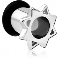 SURGICAL STEEL FLESH TUNNEL - SQUARE AND STAR PIERCING