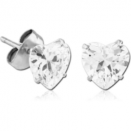 SURGICAL STEEL HEART PRONG SET JEWELLED EAR STUDS PAIR