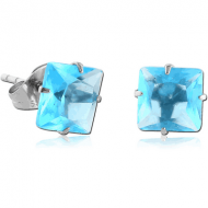 SURGICAL STEEL SQUARE PRONG SET JEWELLED EAR STUDS PAIR
