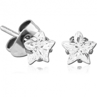 SURGICAL STEEL STAR PRONG SET JEWELLED EAR STUDS PAIR
