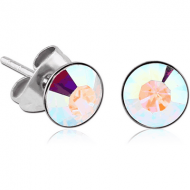 SURGICAL STEEL JEWELLED CUP EAR STUDS PAIR