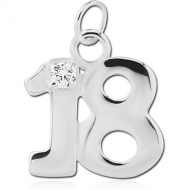STERLING SILVER 925 JEWELLED CHARM - EIGHTEEN