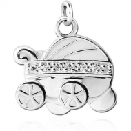 STERLING SILVER 925 CHARM - BABY CARRIAGE