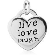 STERLING SILVER 925 CHARM - HEART LIVE LOVE LAUGH