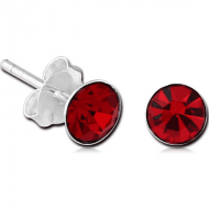 STERLING SILVER 925 JEWELLED EAR STUDS PAIR ROUND 6MM