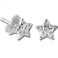 STERLING SILVER 925 EAR STUDS PAIR - STAR
