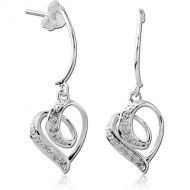 STERLING SILVER 925 JEWELLED EAR STUDS PAIR - HEART