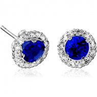 STERLING SILVER 925 JEWELLED EAR STUDS PAIR - CIRCLES