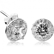 STERLING SILVER 925 JEWELLED EAR STUDS PAIR - CIRCLE