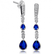 STERLING SILVER 925 JEWELLED EAR STUDS PAIR - DANGLING PEAR