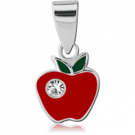 STERLING SILVER 925 JEWELLED PENDANT WITH ENAMEL - APPLE