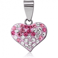 STERLING SILVER 925 PENDANT WITH CRYSTELINE - HEART