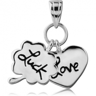 STERLING SILVER 925 PENDANT - LUCKY CLOVER AND LOVE HEART