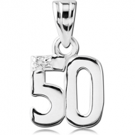 STERLING SILVER 925 JEWELLED PENDANT - FIFTY