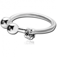 STERLING SILVER 925 JEWELLED ILLUSION NOSE RING WITH SWAROVSKI CRYSTAL PRONG SET PIERCING