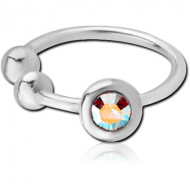 STERLING SILVER 925 JEWELLED ILLUSION NOSE RING WITH BALL PIERCING