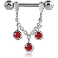 STERLING SILVER 925 JEWELLED CHAIN NIPPLE STIRRUP