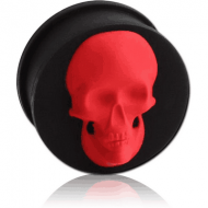 SILICONE RIDGED PLUG WITH 3D SKULL PIERCING