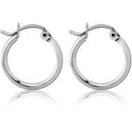 SURGICAL STEEL ROUND WIRE EAR HOOPS PAIR