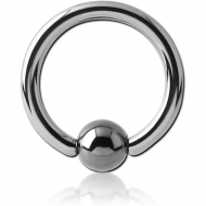 TITANIUM BALL CLOSURE RING WITH HEMATITE BALL