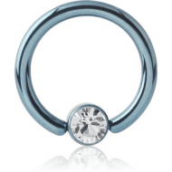 ANODISED TITANIUM BALL CLOSURE RING WITH JEWELLED DISC PIERCING