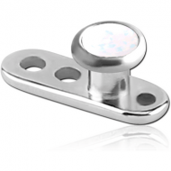 TITANIUM INTERNALLY THREADED DERMAL ANCHOR WITH SYNTHETIC OPAL JEWELLED DISC PIERCING