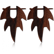 ORGANIC WOODEN EARRINGS PAIR TEAK TRIBAL