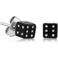 UV ACRYLIC DICE EAR STUDS PAIR