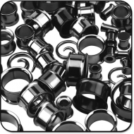 VALUE PACK OF MIX BLACKLINE SURGICAL STEEL TUNNELS EAR SPIRALS PIERCING