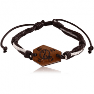 WAX CORD BRACELET ONE MM NATURAL COLOURS WITH COW BONE CARVED TRIBAL DESIGN