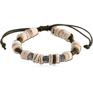 WAX CORD BRACELET ONE MM NATURAL COLOURS WITH WOOD COCO AND ACRYLIC BEADS