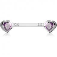 BIOFLEX PUSH FIT JEWELLED NIPPLE BARBELL - HEARTS