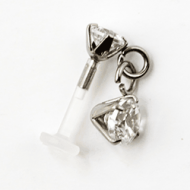 BIOFLEX INTERNAL LABRET WITH JEWELED SURGICAL STEEL ATTACHMENT PIERCING