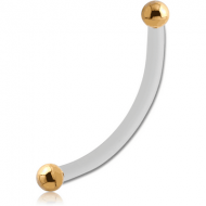 BIOFLEX INTERNAL CURVED MICRO BARBELL WITH INTERNALLY THREADED GOLD PLATED SURGICAL STEEL BALLS PIERCING