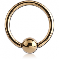 ZIRCON GOLD PVD COATED SURGICAL STEEL BALL CLOSURE RING PIERCING