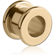 ZIRCON GOLD PVD COATED STAINLESS STEEL ROUND-EDGE THREADED TUNNEL PIERCING