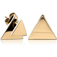 ZIRCON GOLD PVD COATED SURGICAL STEEL BACK EARRINGS WITH STUD PAIR - TRIANGLE
