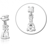 SURGICAL STEEL JEWELLED MICRO ATTACHMENT FOR 1.2MM INTERNALLY THREADED PINS PIERCING