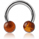 SURGICAL STEEL CIRCULAR BARBELL WITH AMBER BALLS