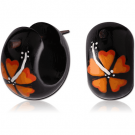TRIBAL TEAK WOOD PAINTED EARRINGS PAIR-HIBISCUS