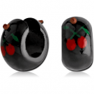 TRIBAL TEAK WOOD PAINTED EARRINGS PAIR-CHERRIES